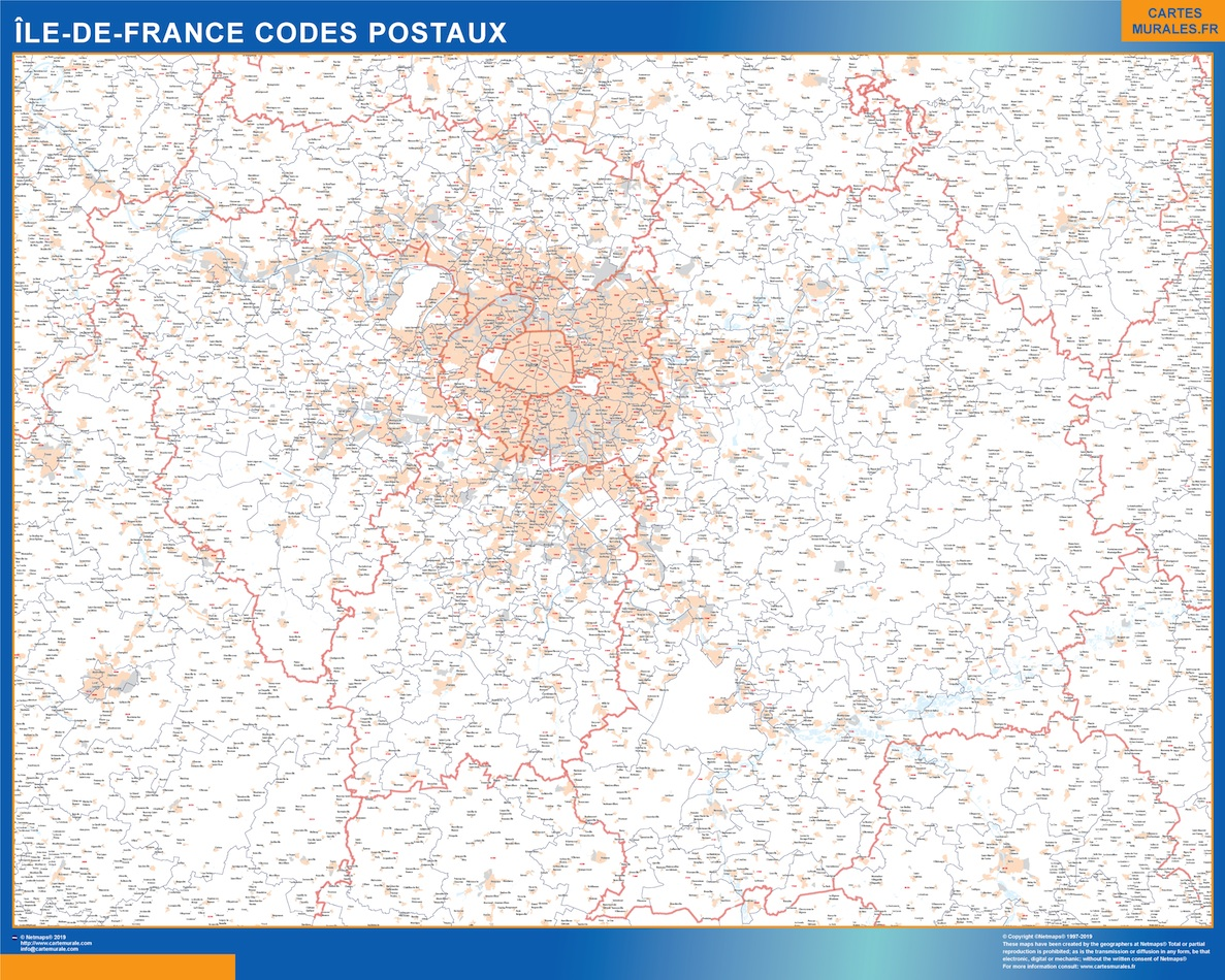 Region Ile de France codes postaux
