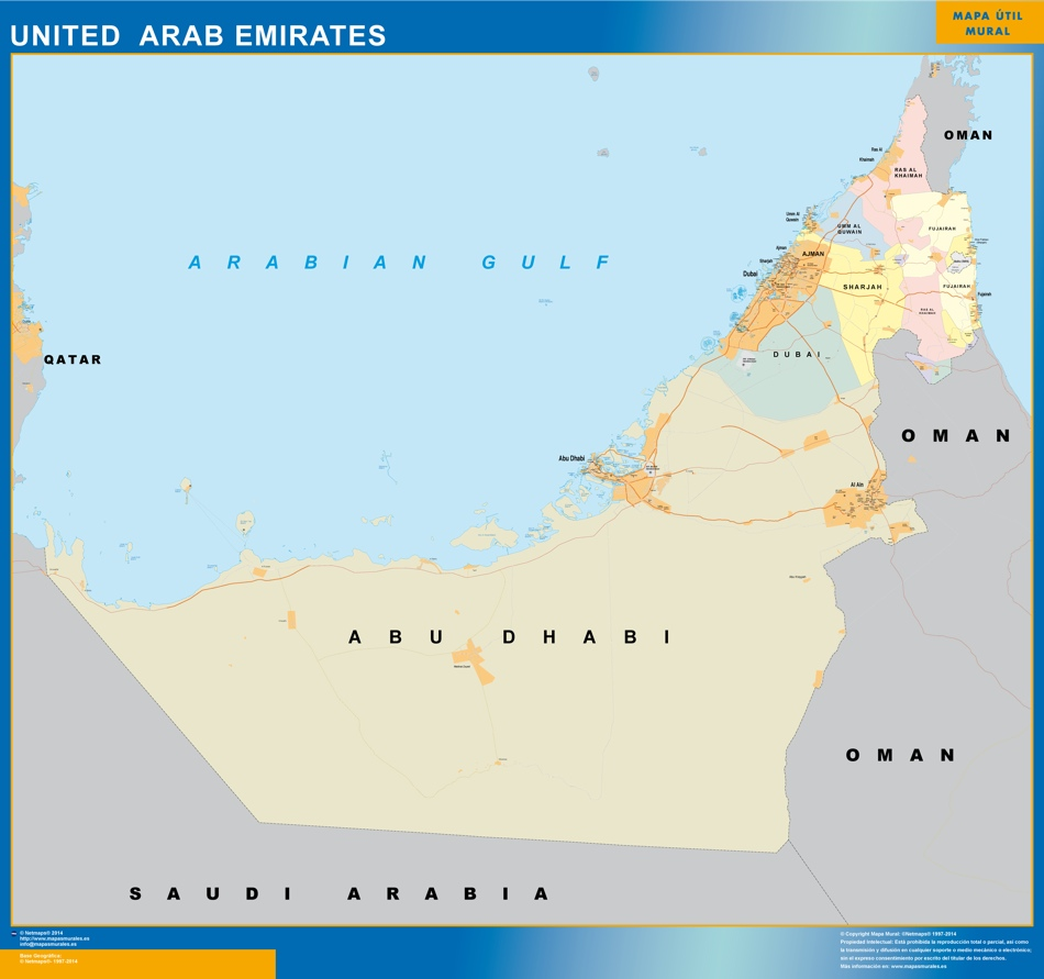carte murale emirats arabs unis