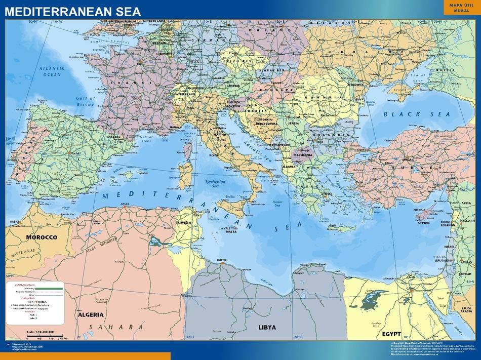 Carte Mediterranee Politique