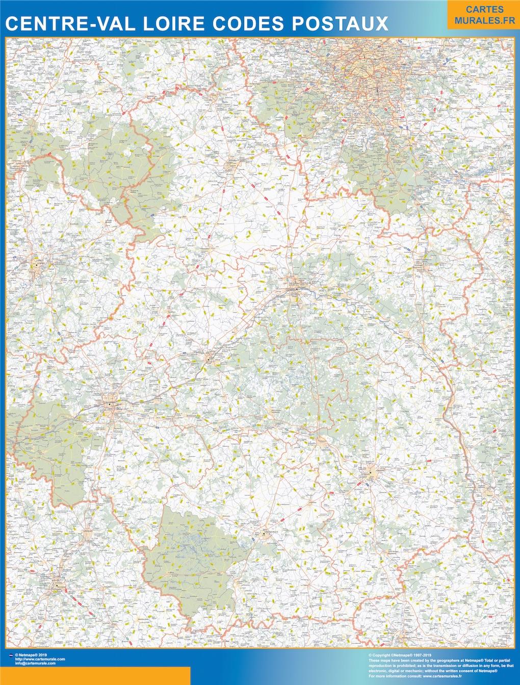 Carte Centre Val Loire codes postaux
