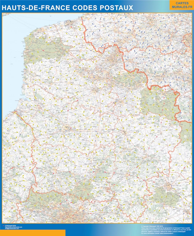 Carte Hauts de France codes postaux