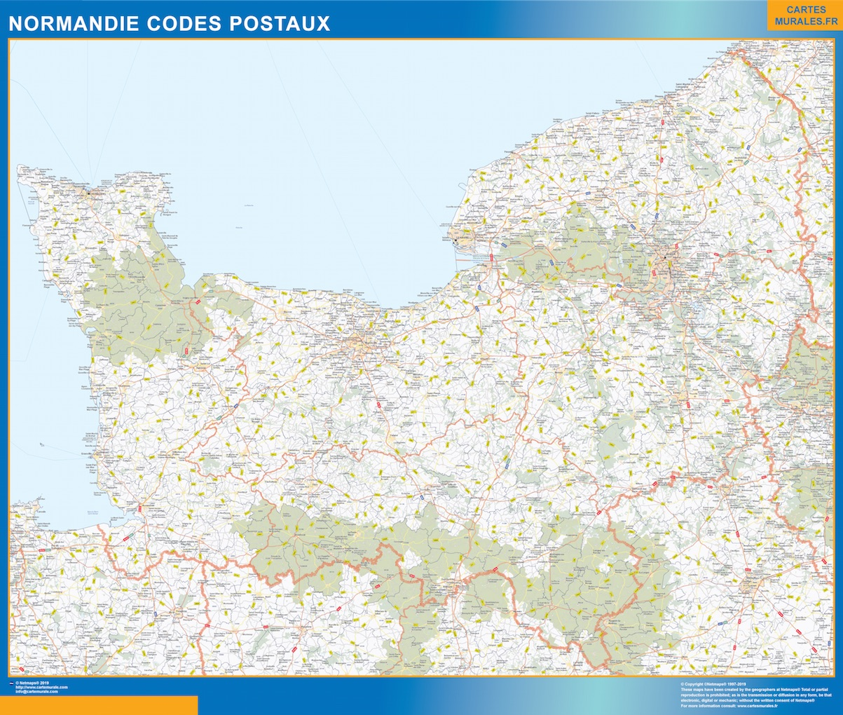 Carte Normandie codes postaux