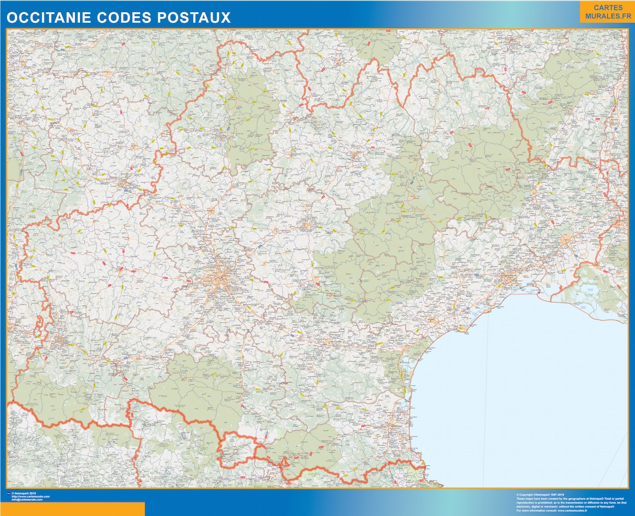 Carte OccitanIe codes postaux